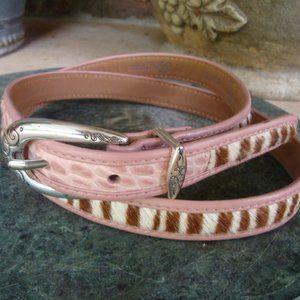 brighton pink tiger pony hair belt size 36